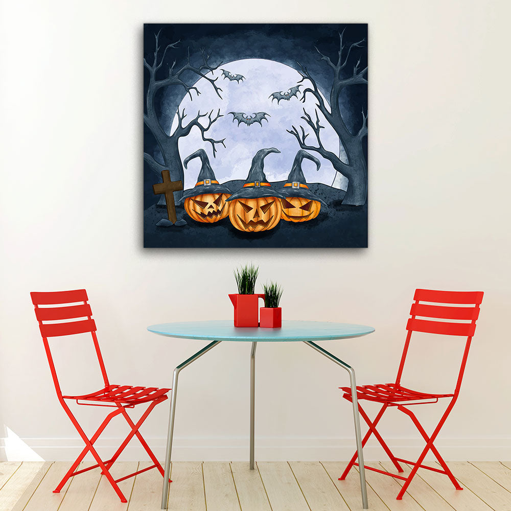 Halloween Pumpkins Canvas Wall Art