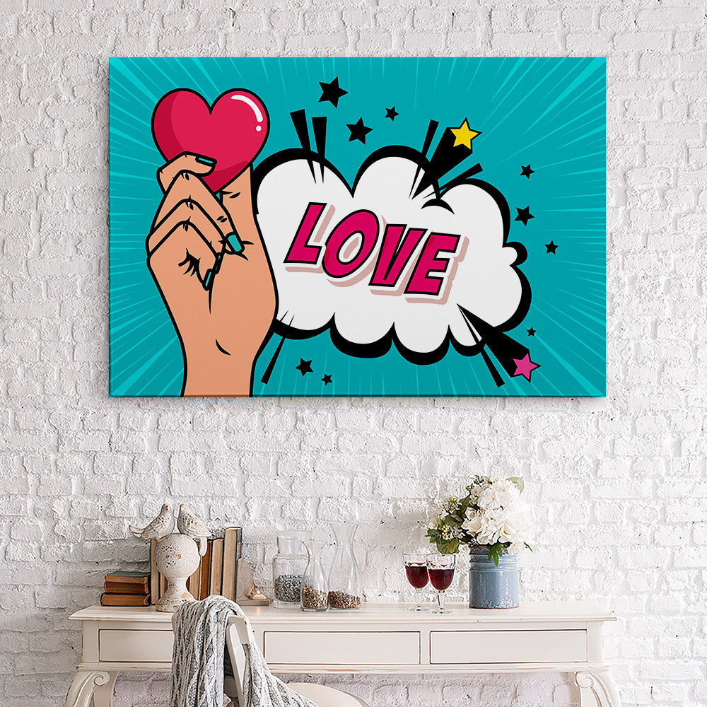 Hand With Heart Canvas Wall Art