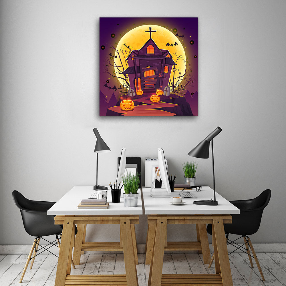 Haunted House Canvas Wall Art