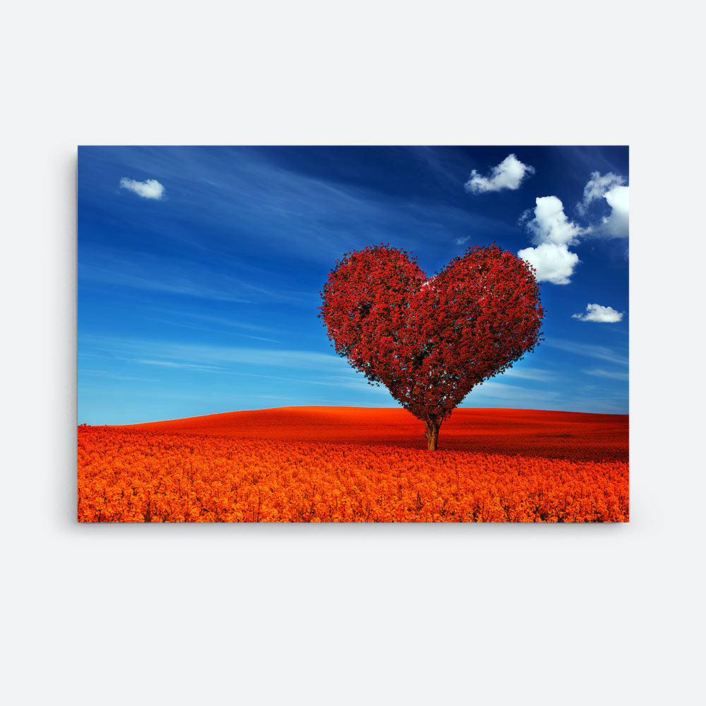 Heart Shape Red Tree Nature Canvas Wall Art