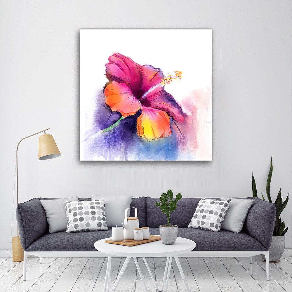 Hibiscus Flower Canvas Wall Art
