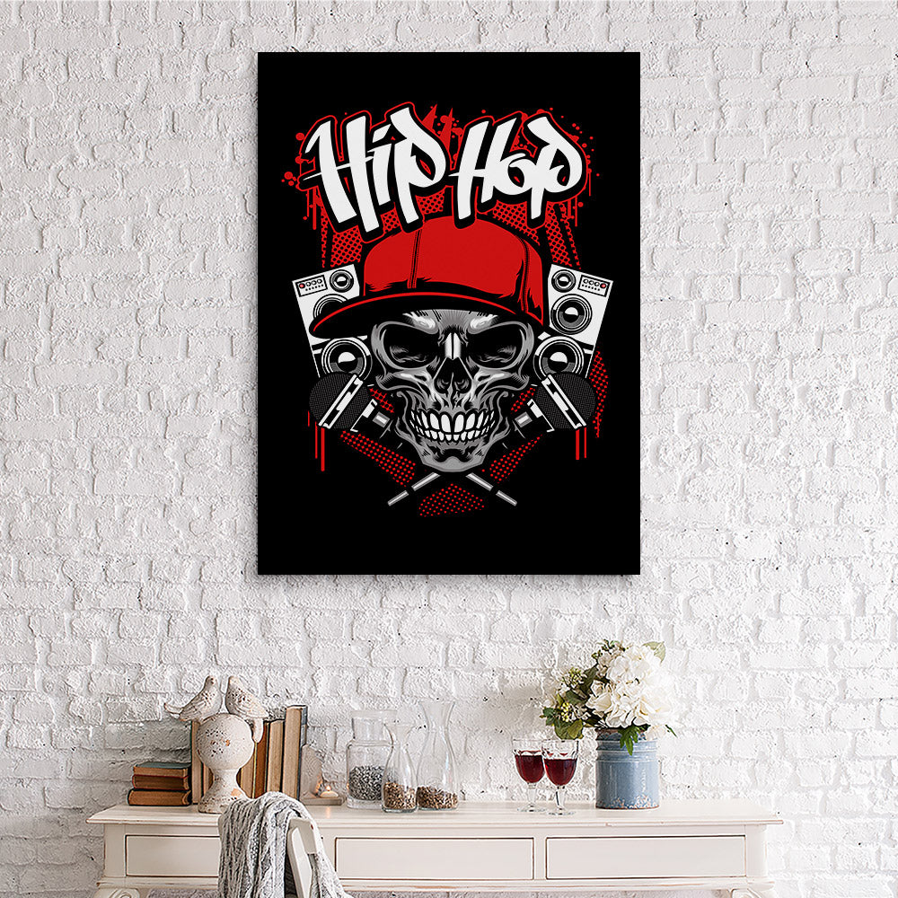 Hip Hop Skull Wearing Cap Canvas Wall Art