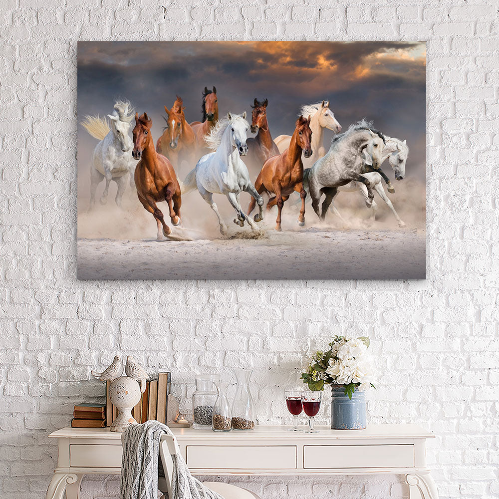 Horse Herd Run Fast in Desert Canvas Wall Art