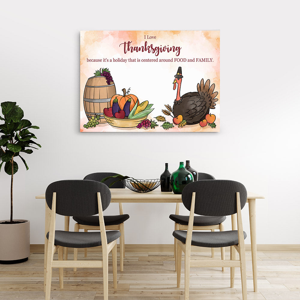 I Love Thanksgiving Canvas Wall Art