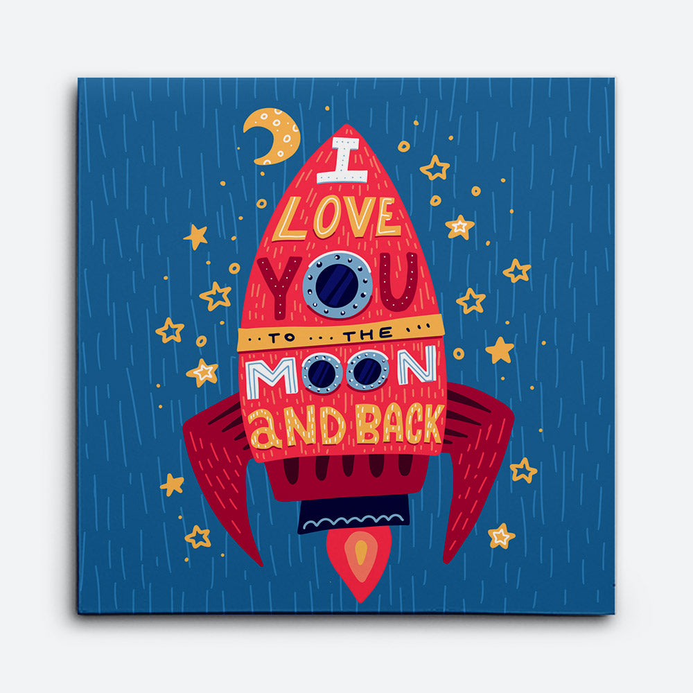 I Love You Moon Canvas Wall Art