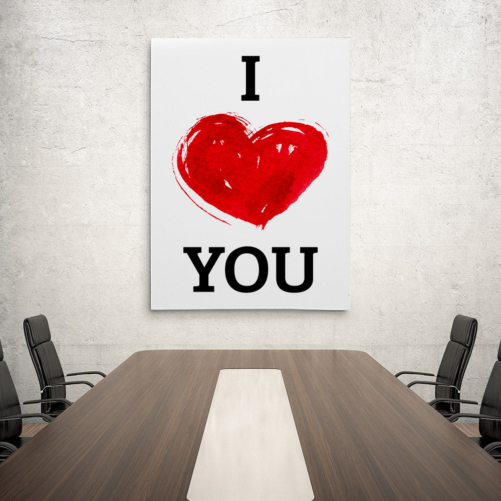 I Love You With Heart Canvas Wall Art
