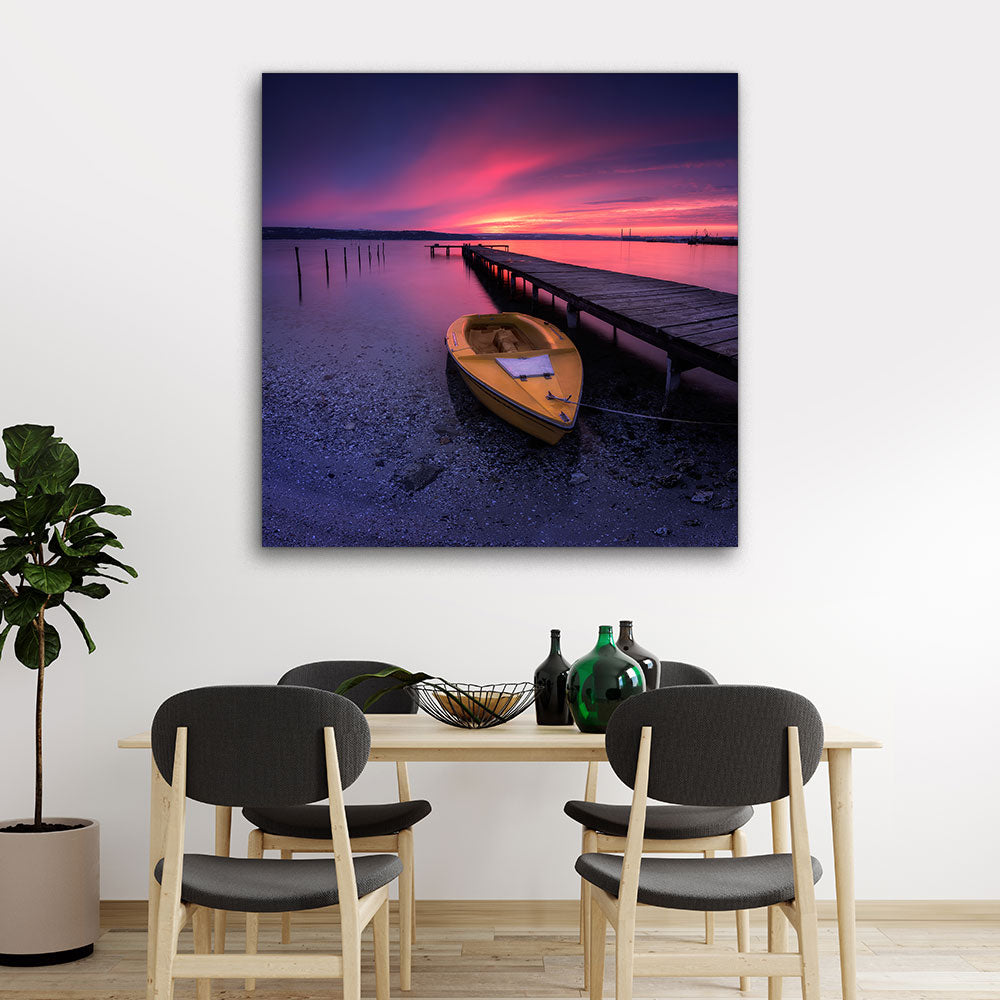 Lake and Boat Sunset Canvas Wall Art