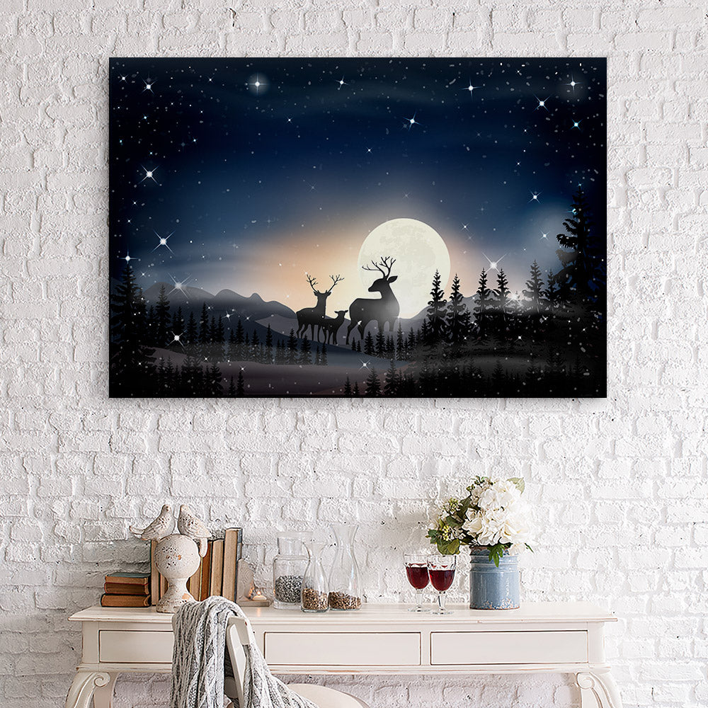 Landscape Starry Night With Moon Canvas Wall Art