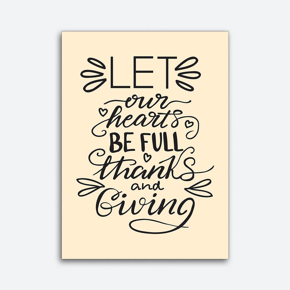 Let Our Hearts Be Full Thanks Giving Canvas Wall Art