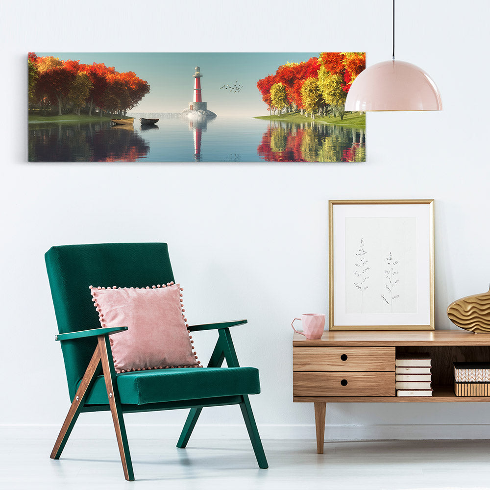 Lighthouse, Boats and Trees Canvas Wall Art