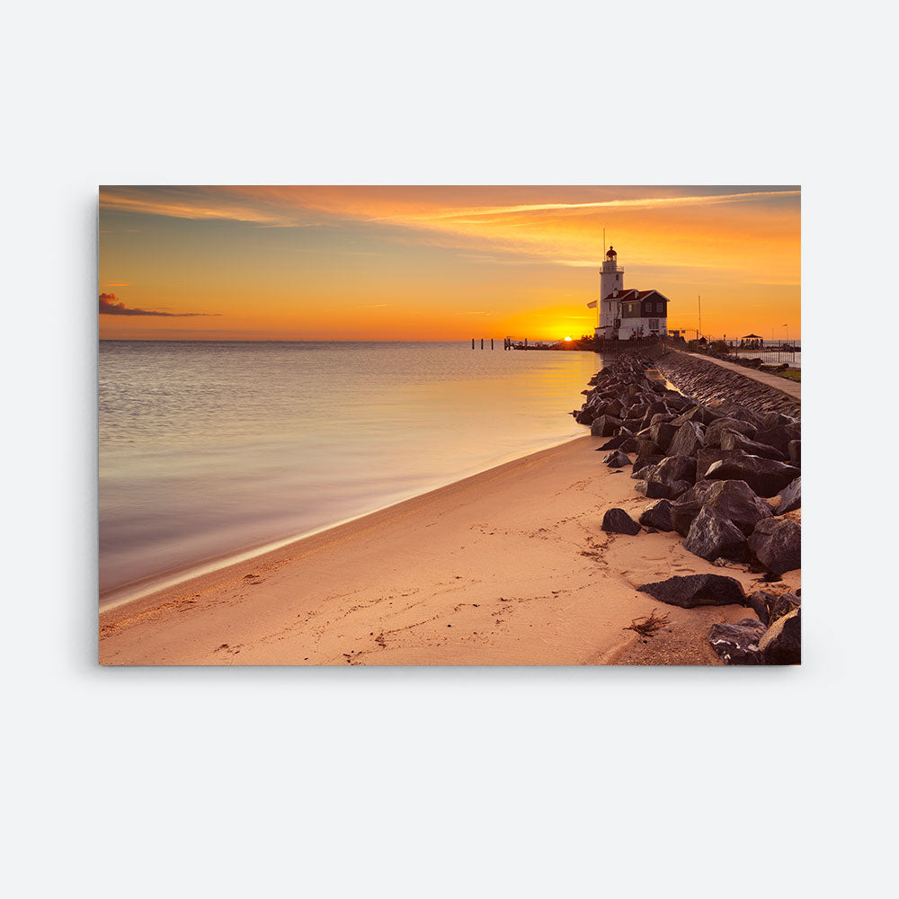 Lighthouse Sunset Nature Canvas Wall Art