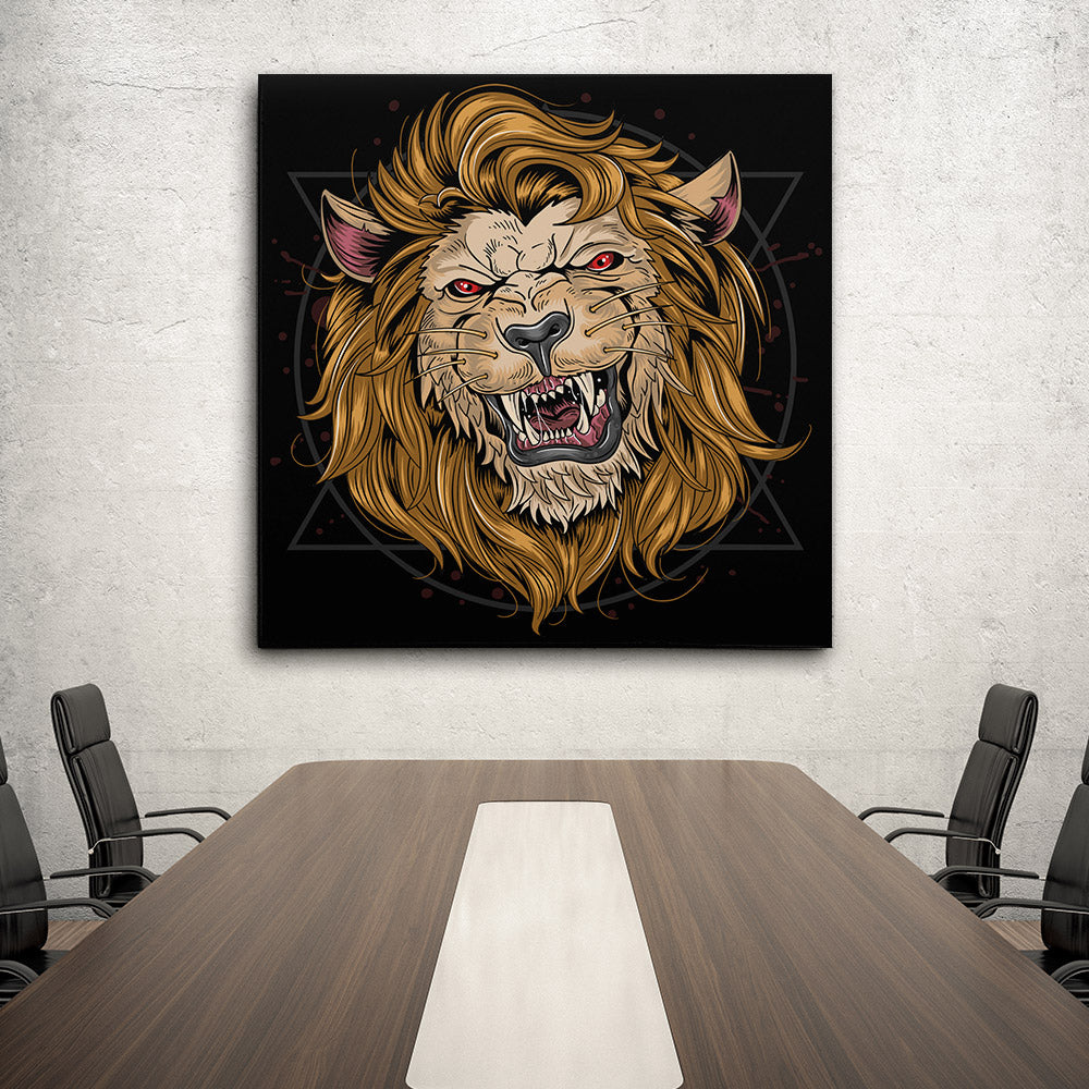 Lion Fierce Head Canvas Wall Art