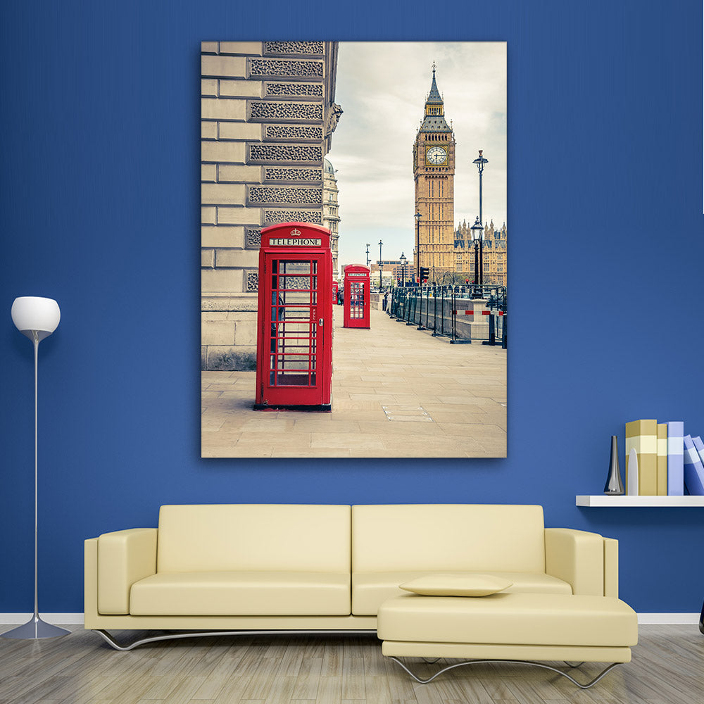 Red Telephone Booth London Canvas Wall Art