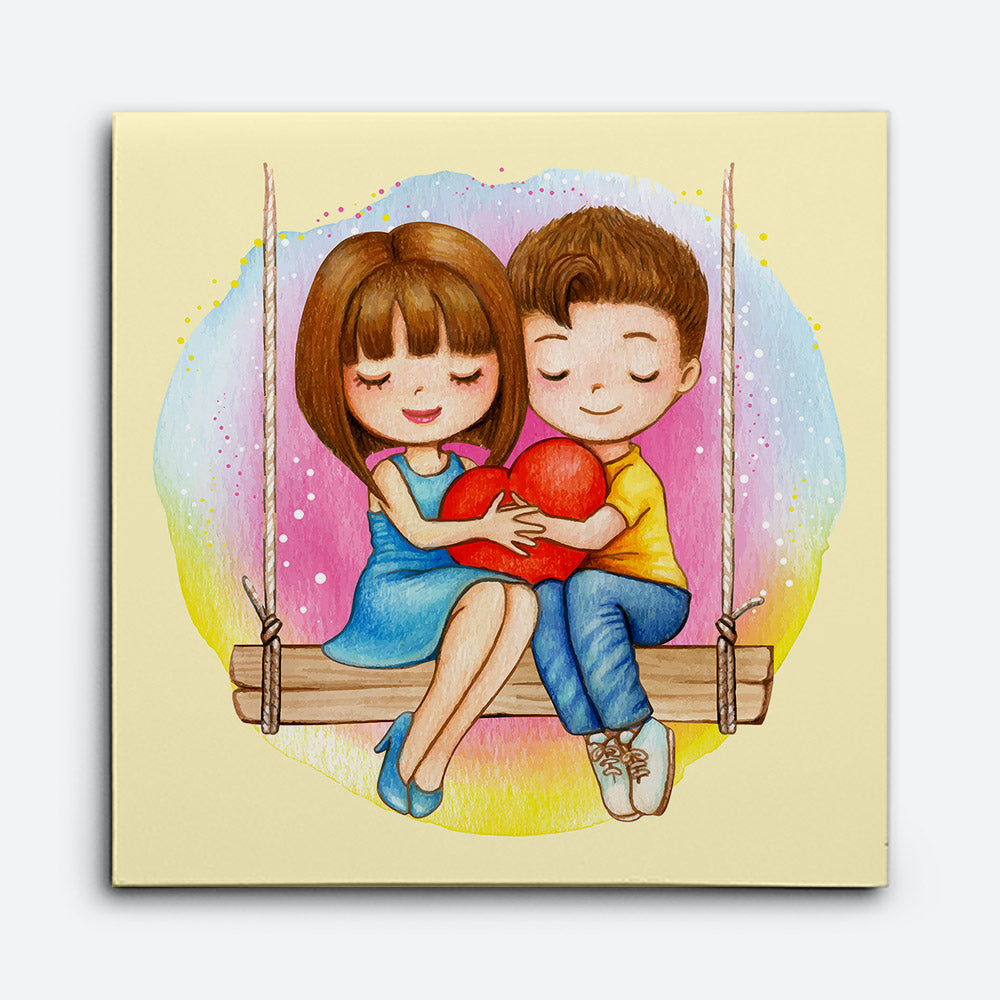 Lovely Watercolor Couple Sitting Canvas Wall Art