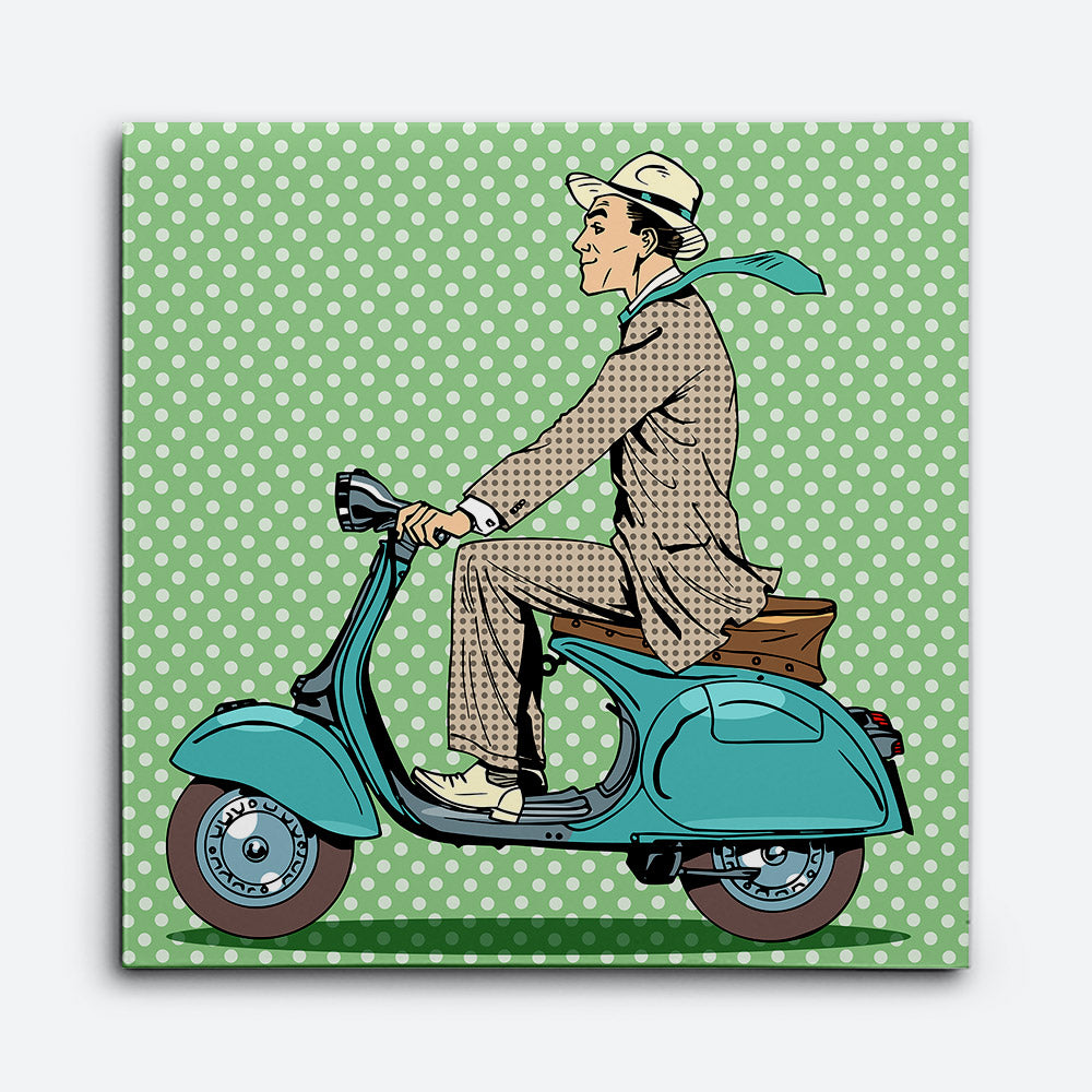 Man Rides Vintage Scooter Canvas Wall Art