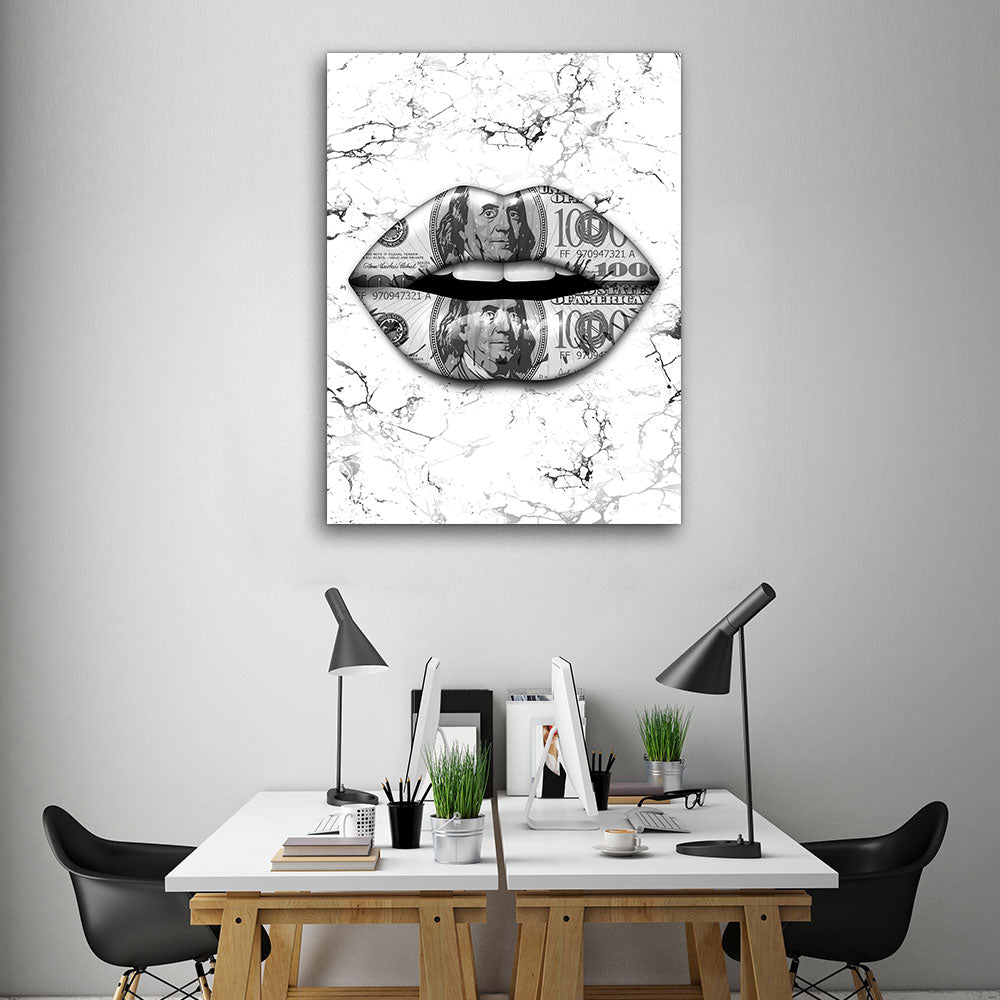 Decorate your walls with Marble Dollars Lips wall art, canvas prints from Makemyprints!