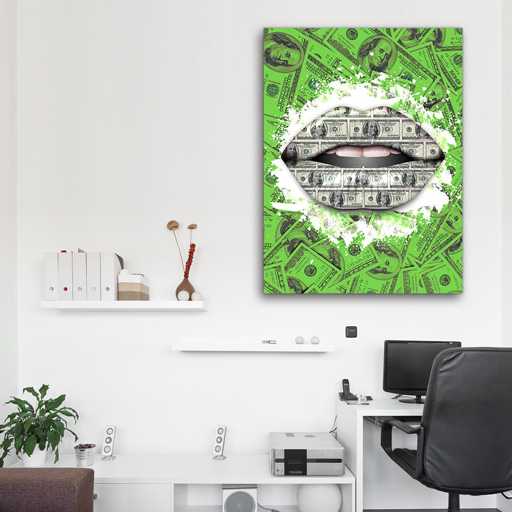 Decorate your walls with Money Lips wall art, canvas prints from Makemyprints!
