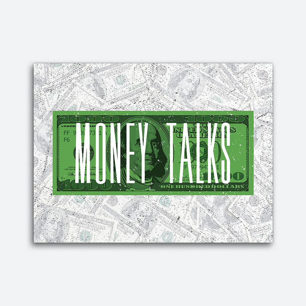 Money Talks Motivational Inspirational Canvas Wall Art