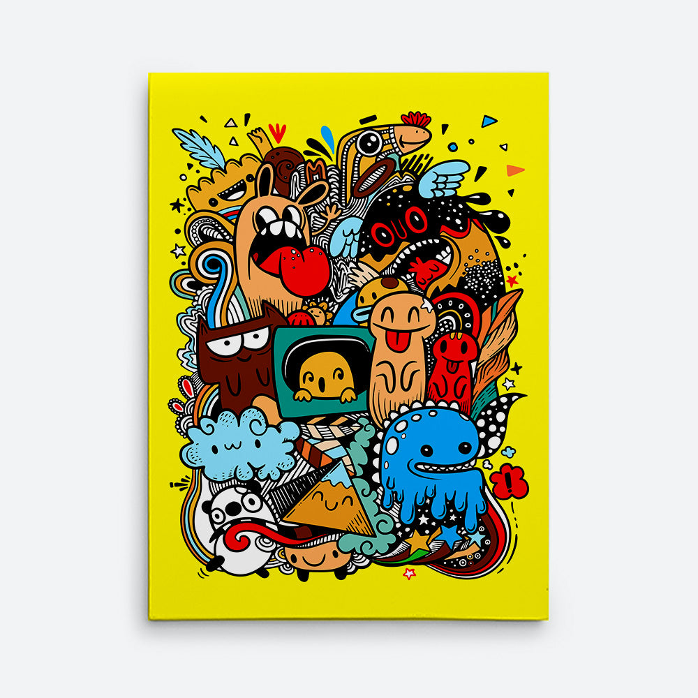 Monster Drawing Graffiti Canvas Wall Art