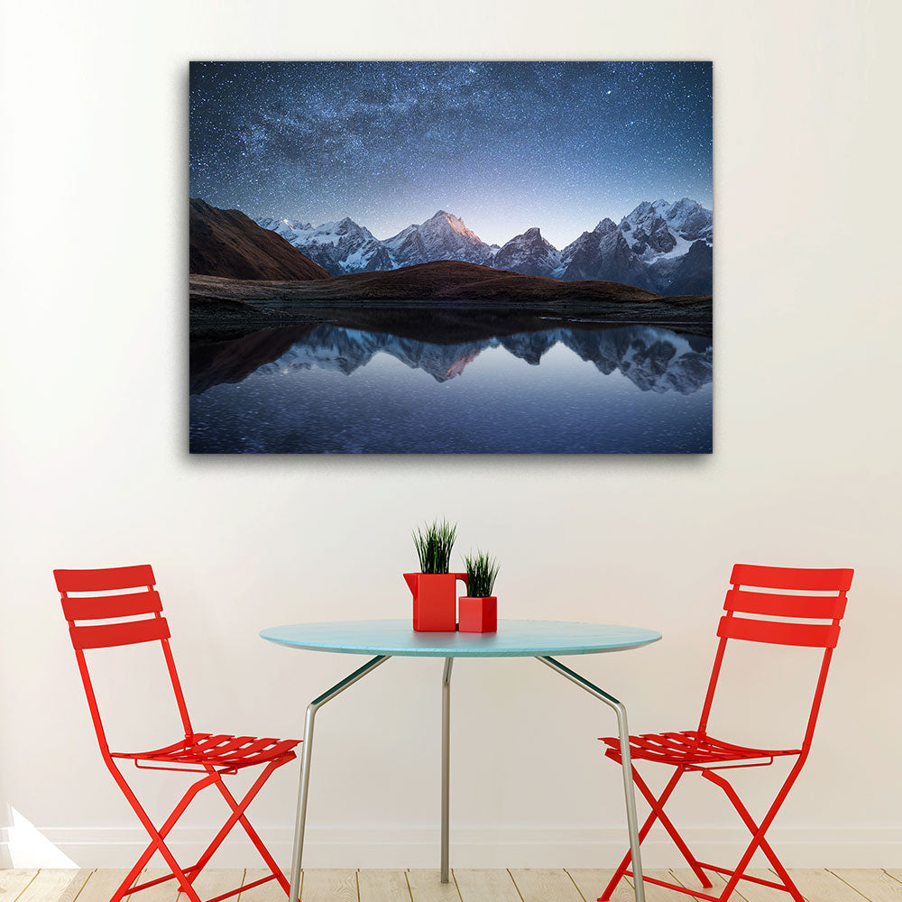 Night Sky Mountain Lake Canvas Wall Art