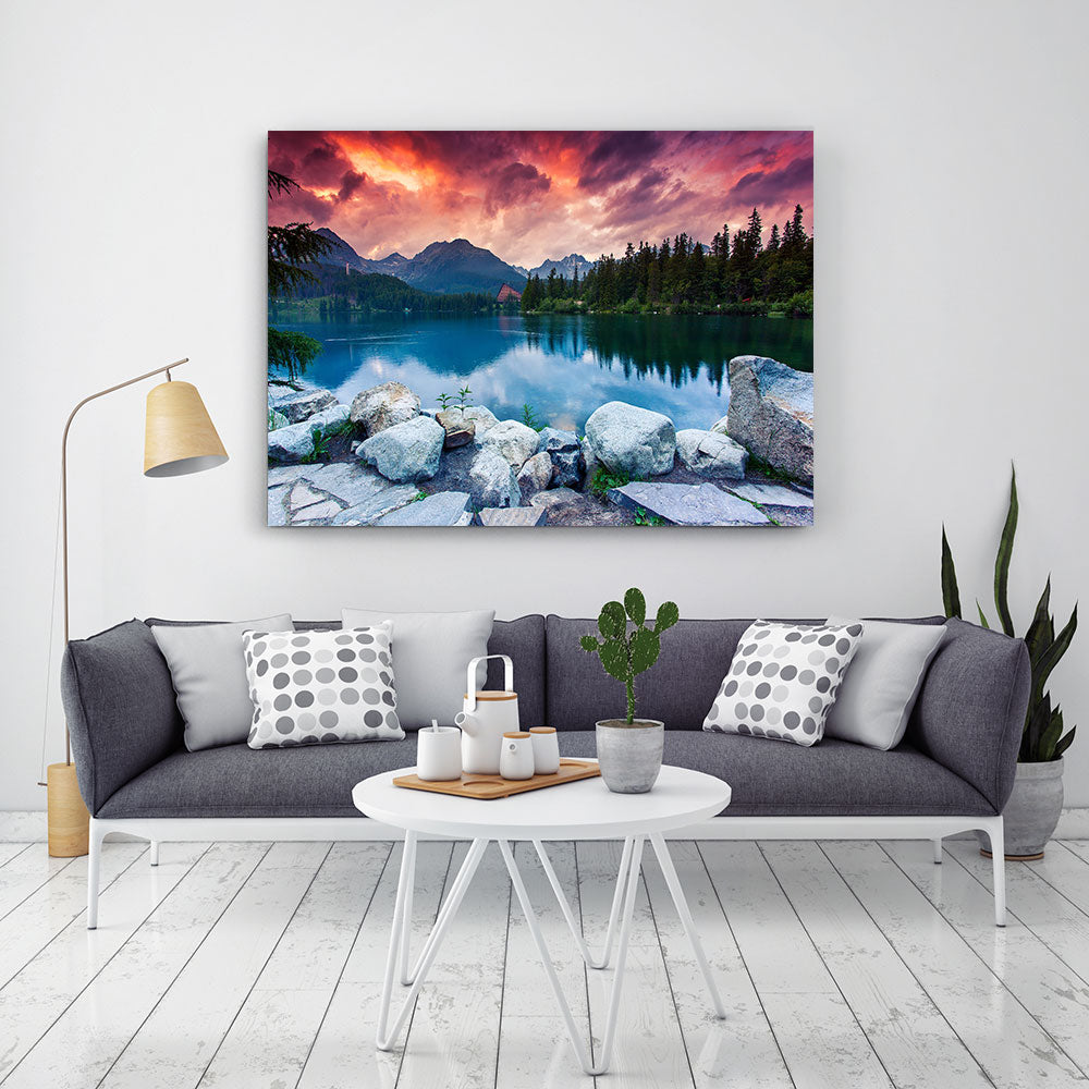 Mountain Lake in National Park High Tatra Nature Canvas Wall Art