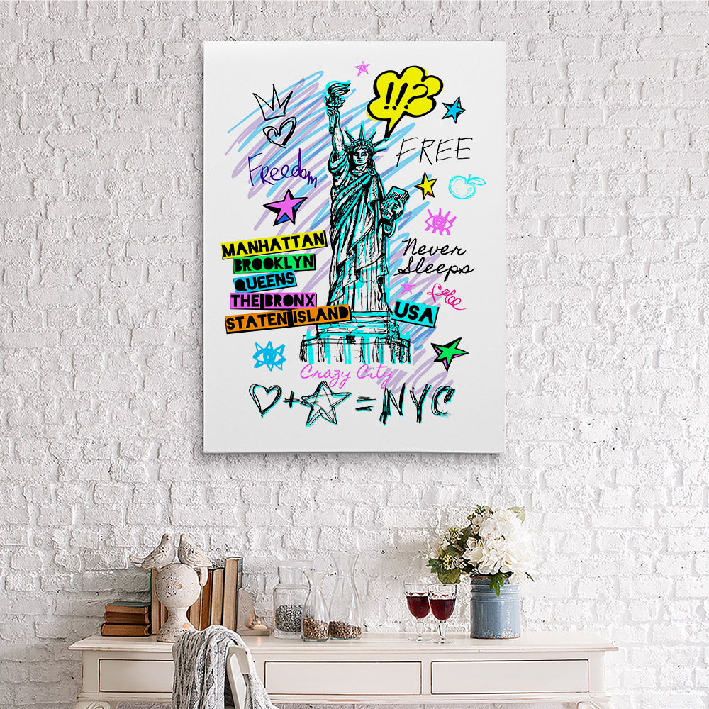 New York City Statue Liberty Freedom Canvas Wall Art