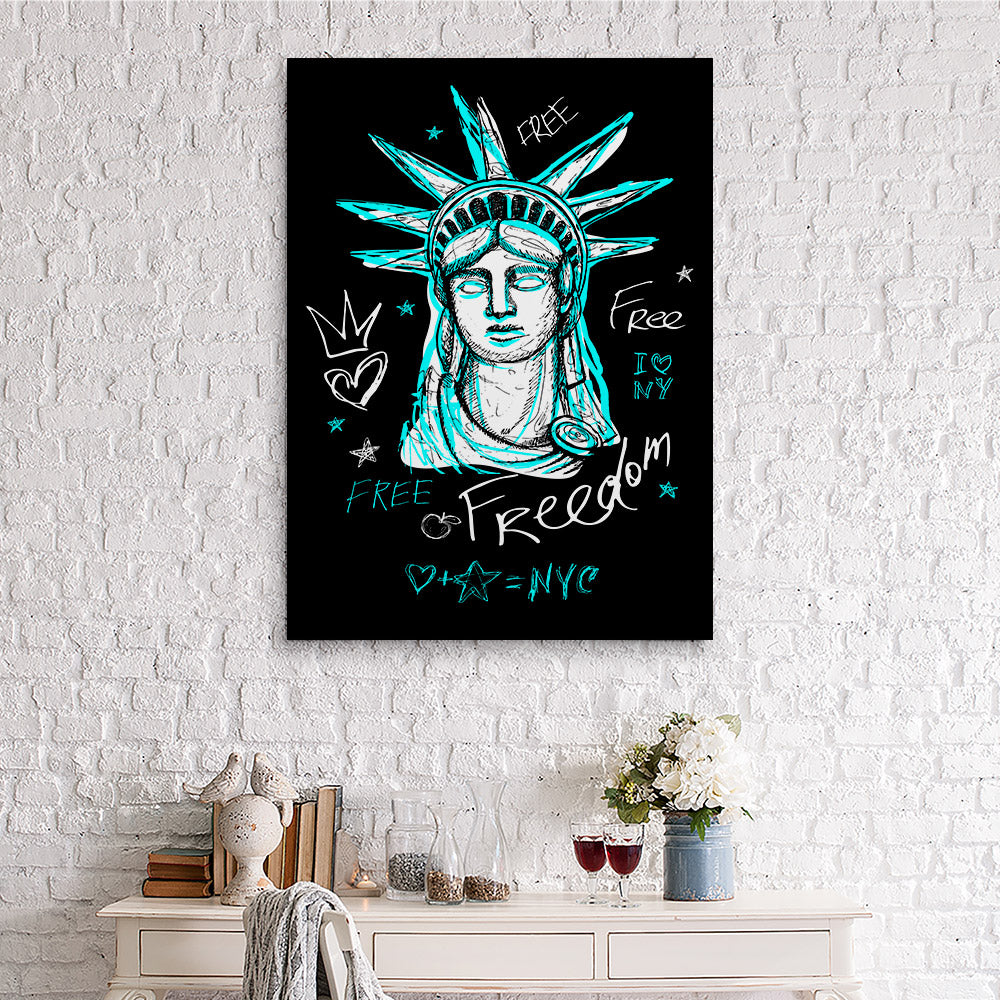 New York City Statue Trendy Graphic Canvas Wall Art