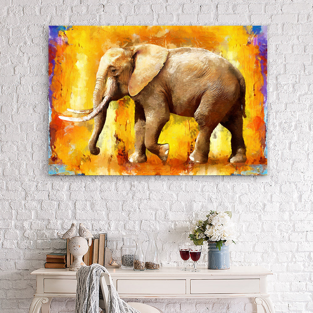 Oil Painting of Elephant Canvas Wall Art