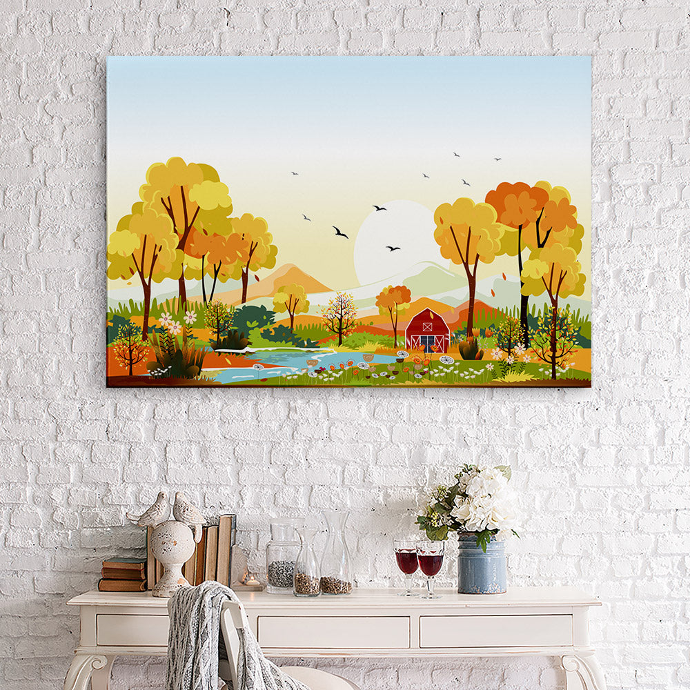 Panorama Landscapes Countryside Autumn Canvas Wall Art