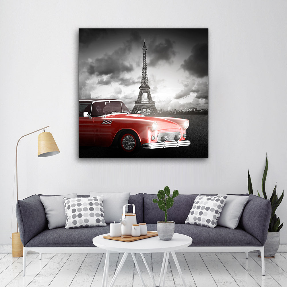 Red Retro Car Eiffel Tower Paris Canvas Wall Art