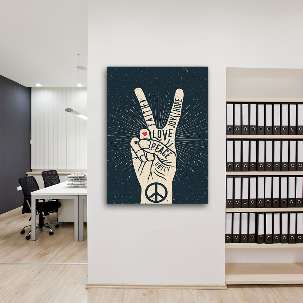 Peace Hand Gesture Sign With Words Canvas Wall Art for your Home or Office. Motivational, inspirational and modern canvas wall art for your Home or Office.