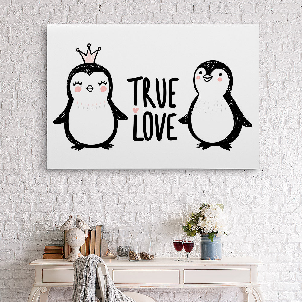 Penguins Love Canvas Wall Art