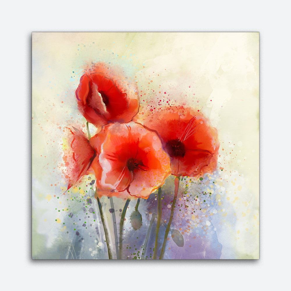 Poppy Flowers Painting Canvas Wall Art