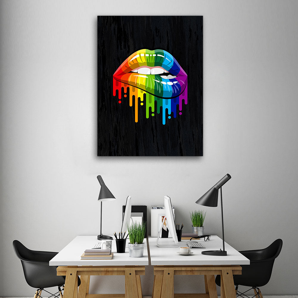 Decorate your walls with Rainbow Color Lips wall art, canvas prints from Makemyprints!