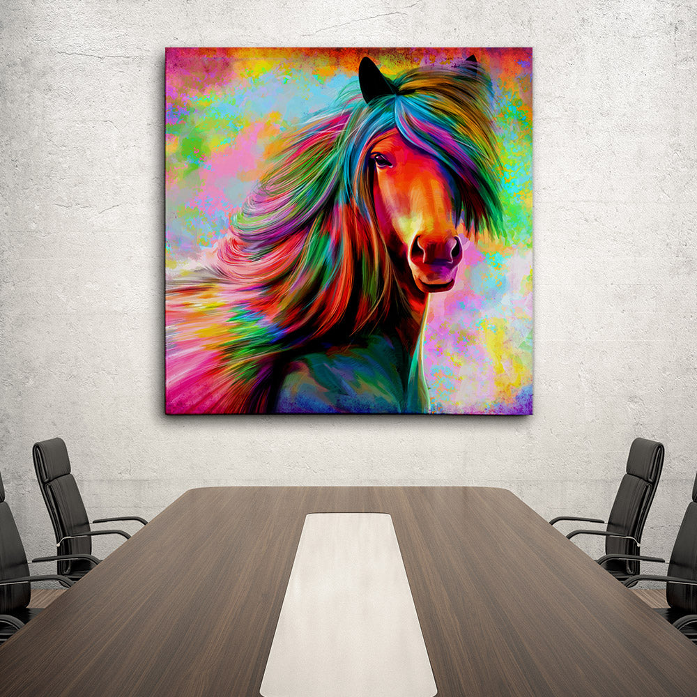 Rainbow Horse Canvas Wall Art