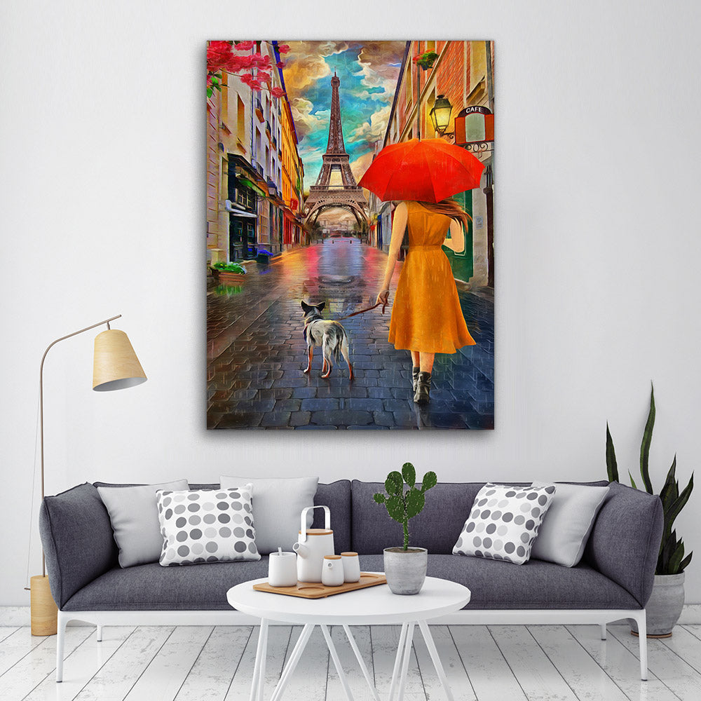 Rainy Day Paris Eiffel Tower Canvas Wall Art