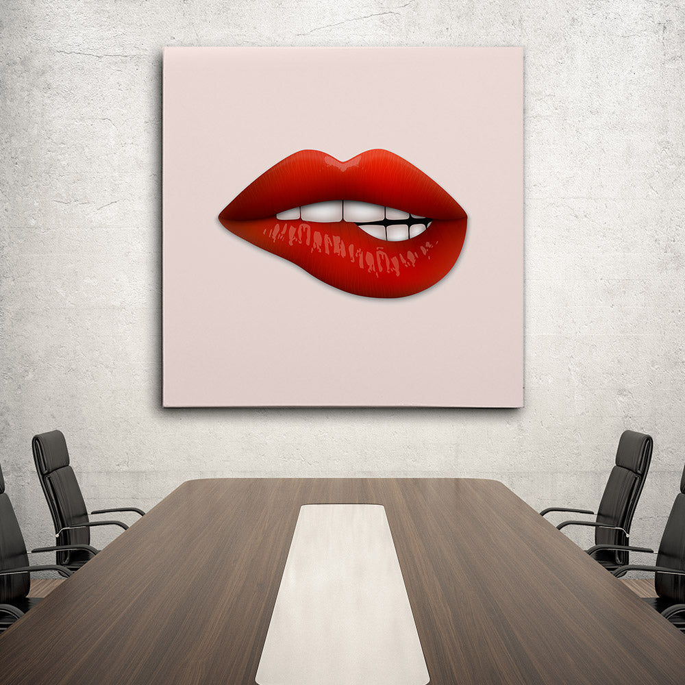 Realistic Lips Canvas Wall Art
