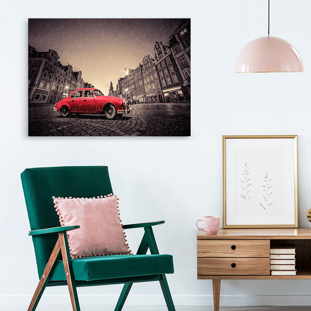 Retro Red Car Canvas Wall Art