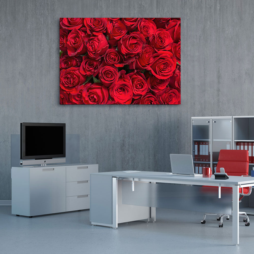 Red Roses Flower Canvas Wall Art