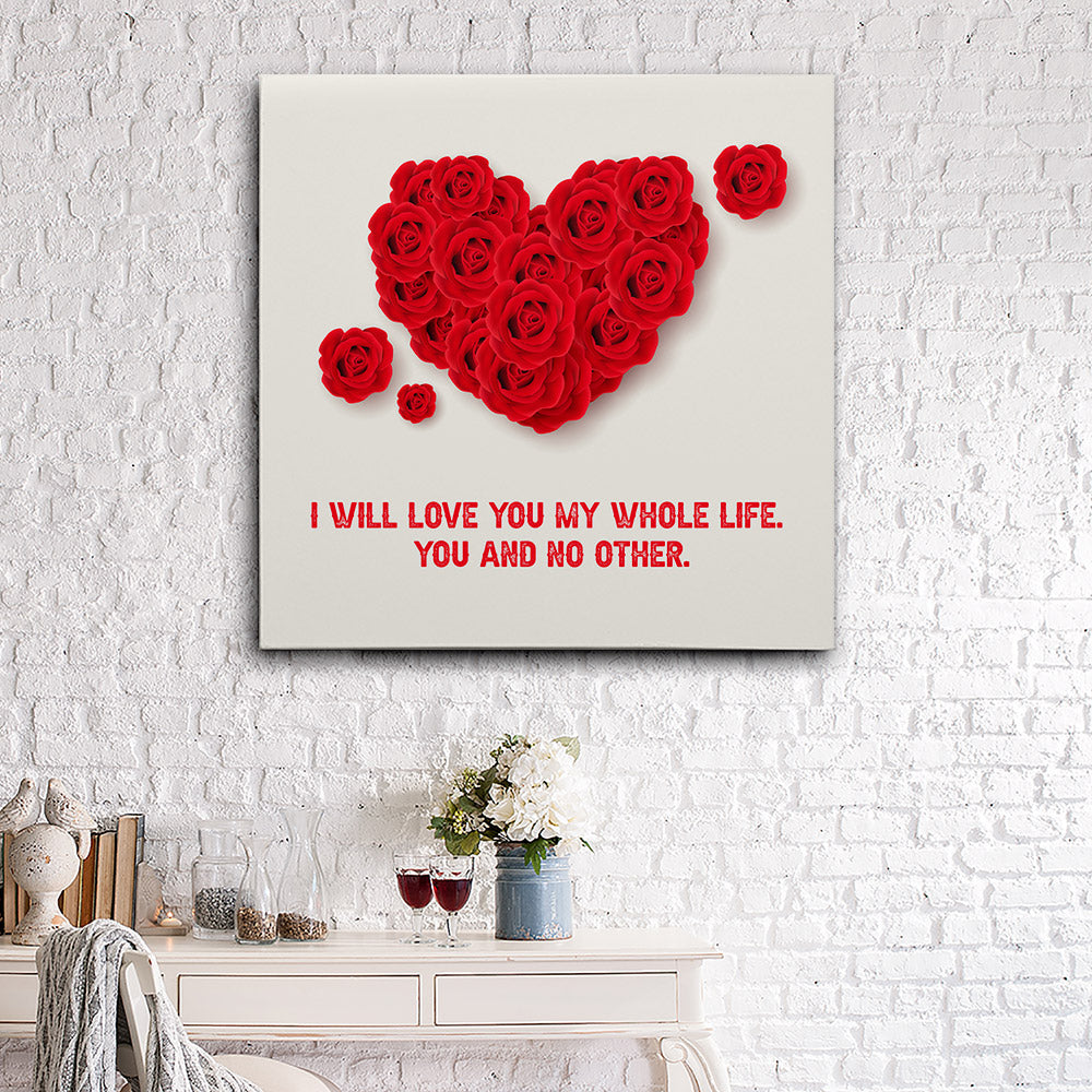 Red Roses Forming Love Canvas Wall Art