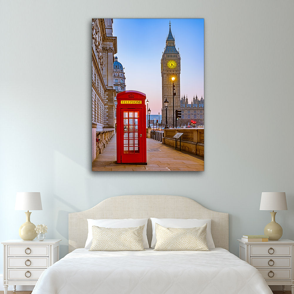 Red Telephone Booth London Canvas Wall Art v3