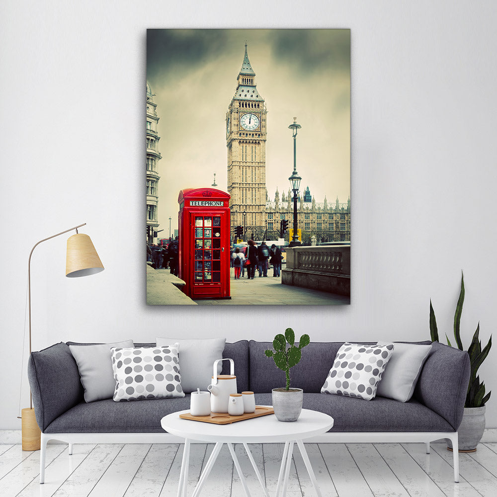 Red Telephone Booth London Canvas Wall Art v2