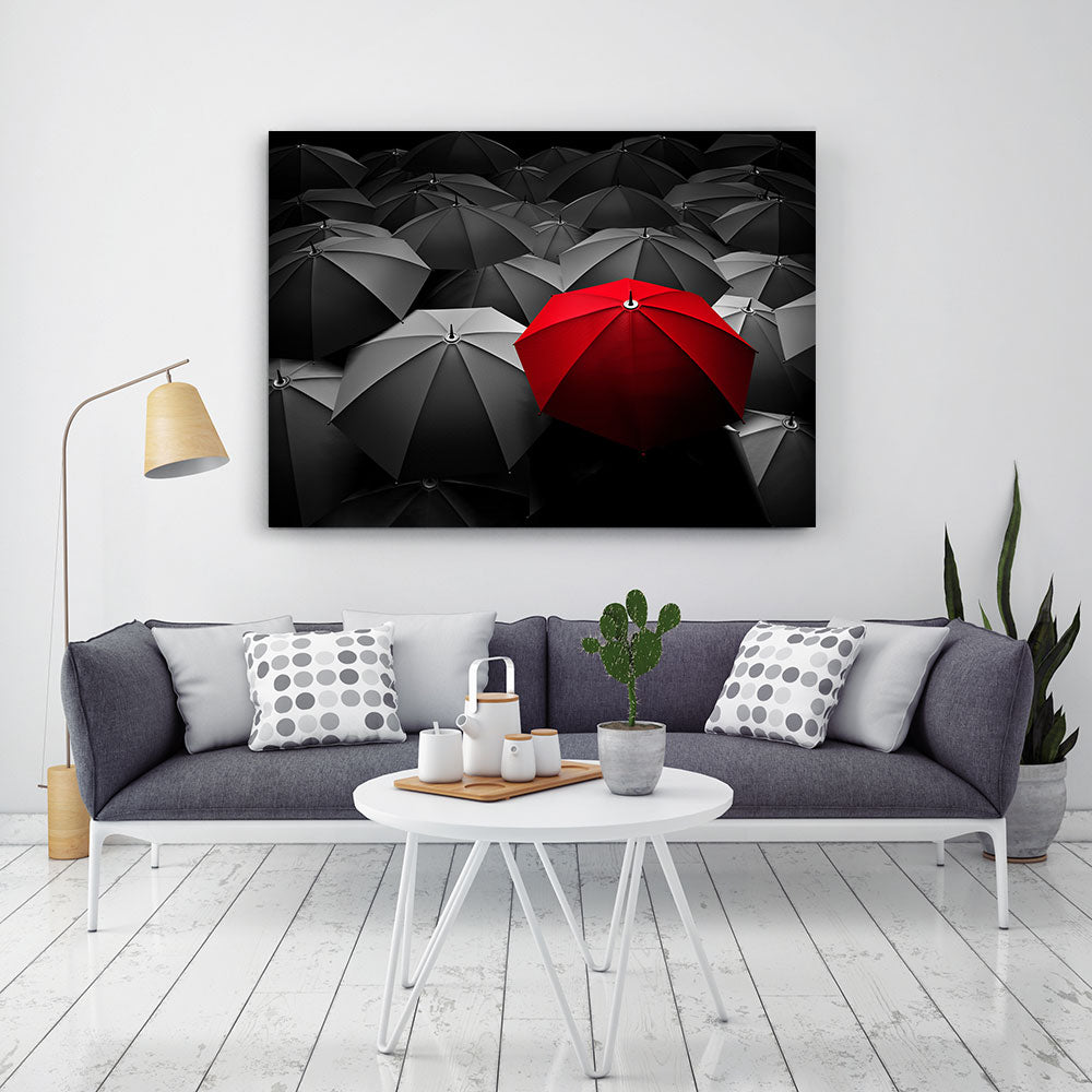 Red Umbrella Canvas Wall Art