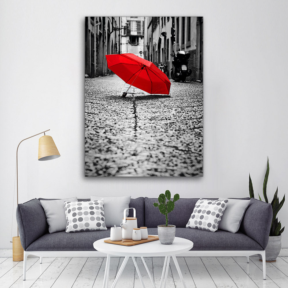 Red Umbrella Street Canvas Wall Art
