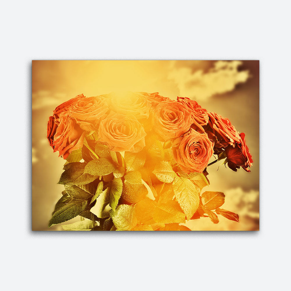 Red Wet Roses Flowers Canvas Wall Art