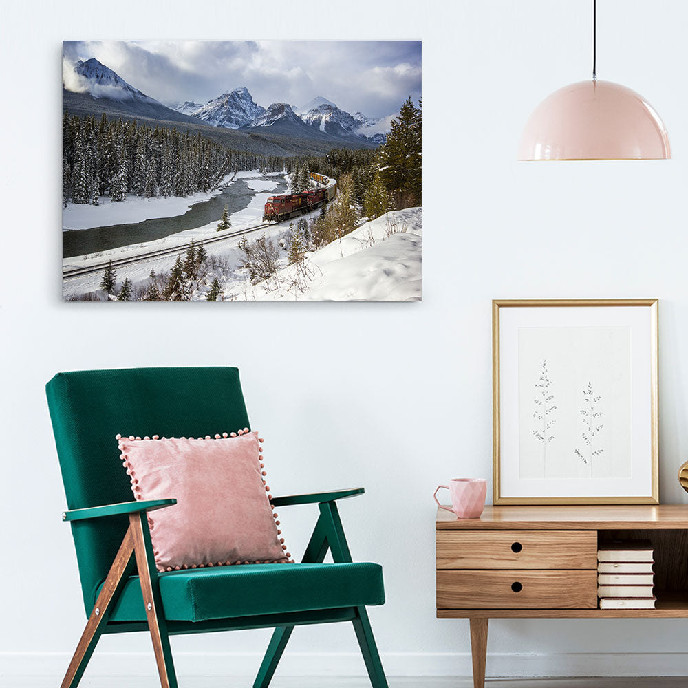 Rocky Mountains River Valley Canvas Wall Art