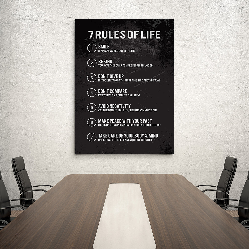 Rules of Life Canvas Wall Art for your Home or Office. Motivational, inspirational and modern canvas wall art for your Home or Office.