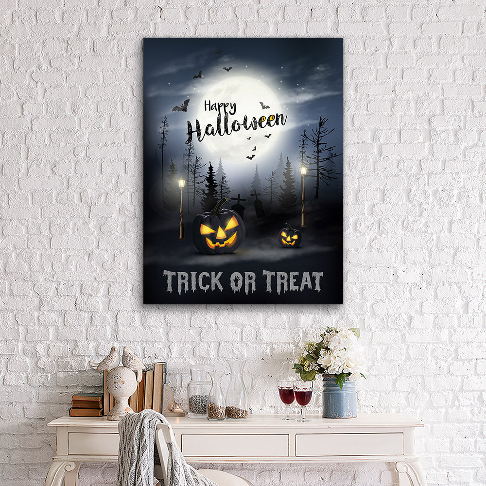 Scary Halloween With Pumpkins Moon Canvas Wall Art