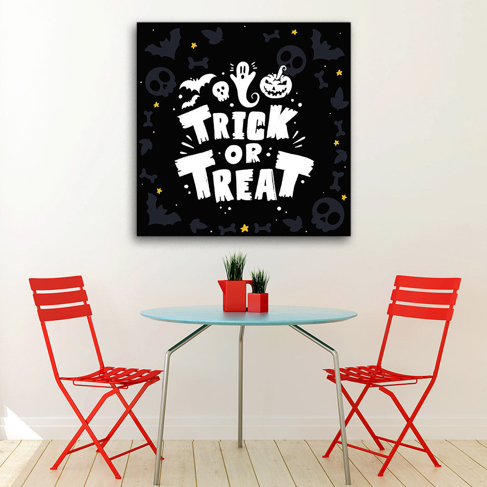 Scary Night With Pumpkins Canvas Wall Art