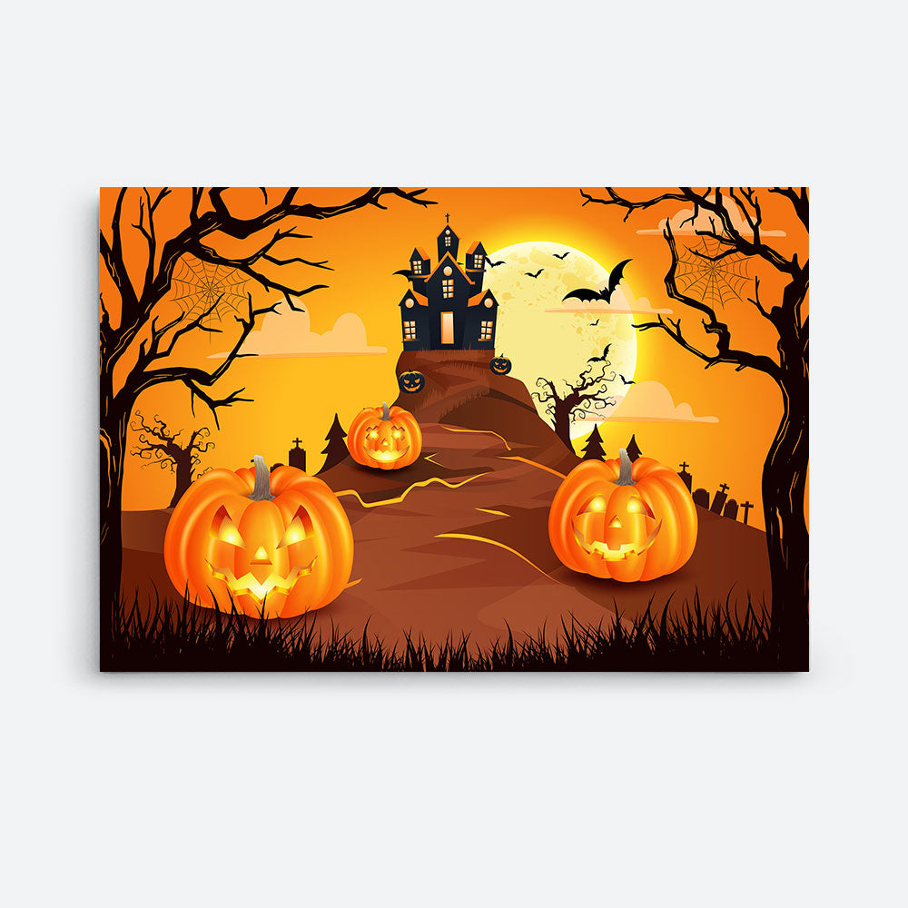 Scary Pumpkins With Spooky Castle Canvas Wall Art